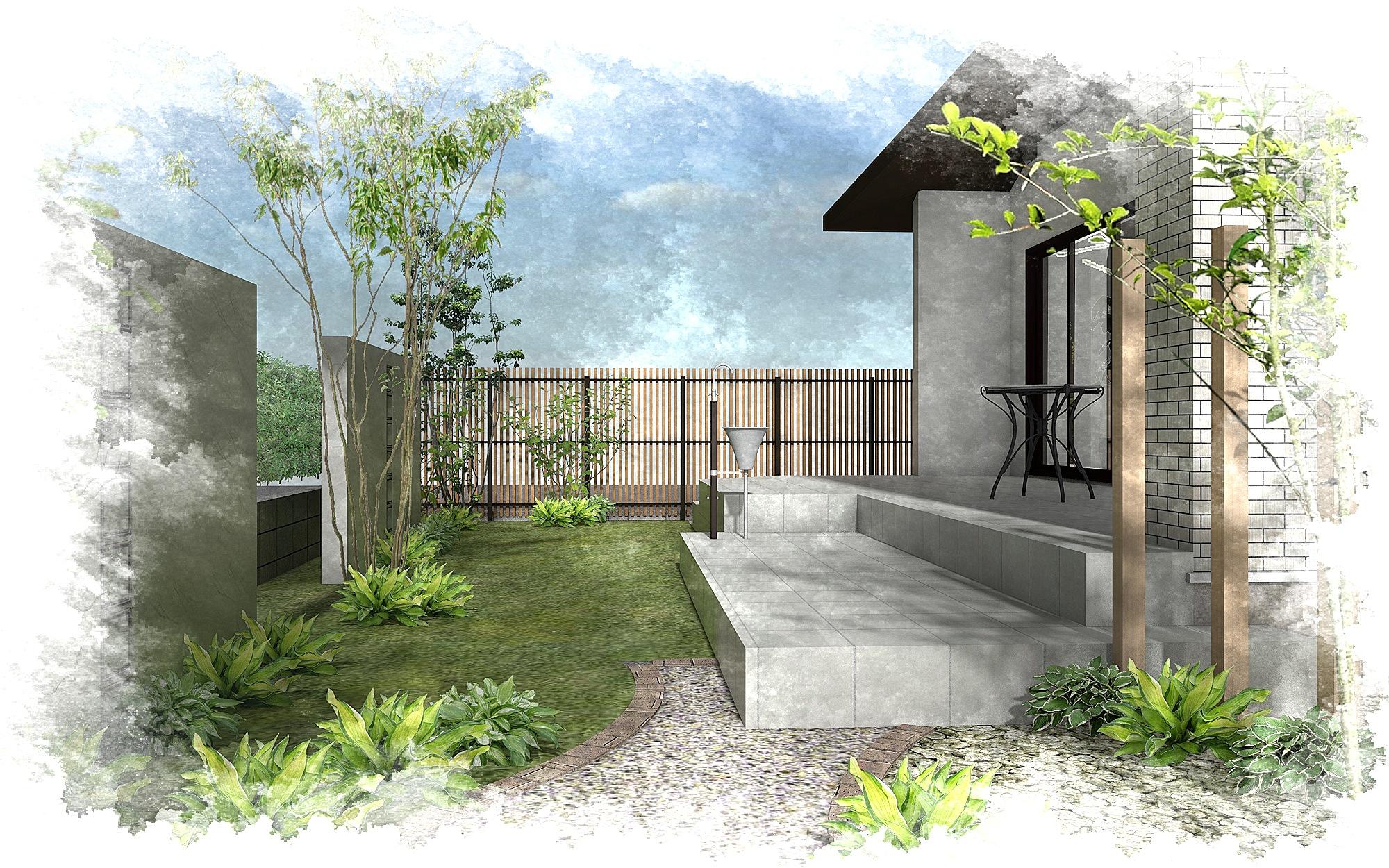 佐倉市生谷。<br>ひろびろタイルテラスと芝生のお庭。モダンでナチュラルなエクステリア。7
