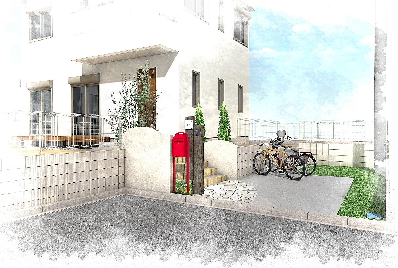 船橋市にて。おしゃれな赤いポストとかわいいレンガの階段。3