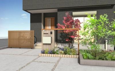千葉市花見川区。新緑がはなやぐ贅沢な空間。きれいめエクステリアの完成です。5