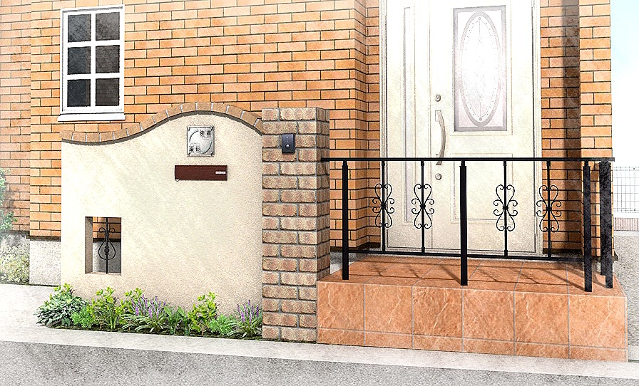 船橋市にて。レンガのカーブがかわいい玄関廻り。4