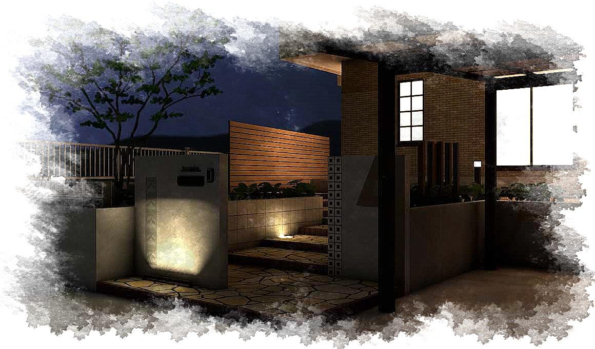 八街市勢田にて。<br>真っ白な門廻りが爽やかな、ゆったりアプローチのエクステリアです。7