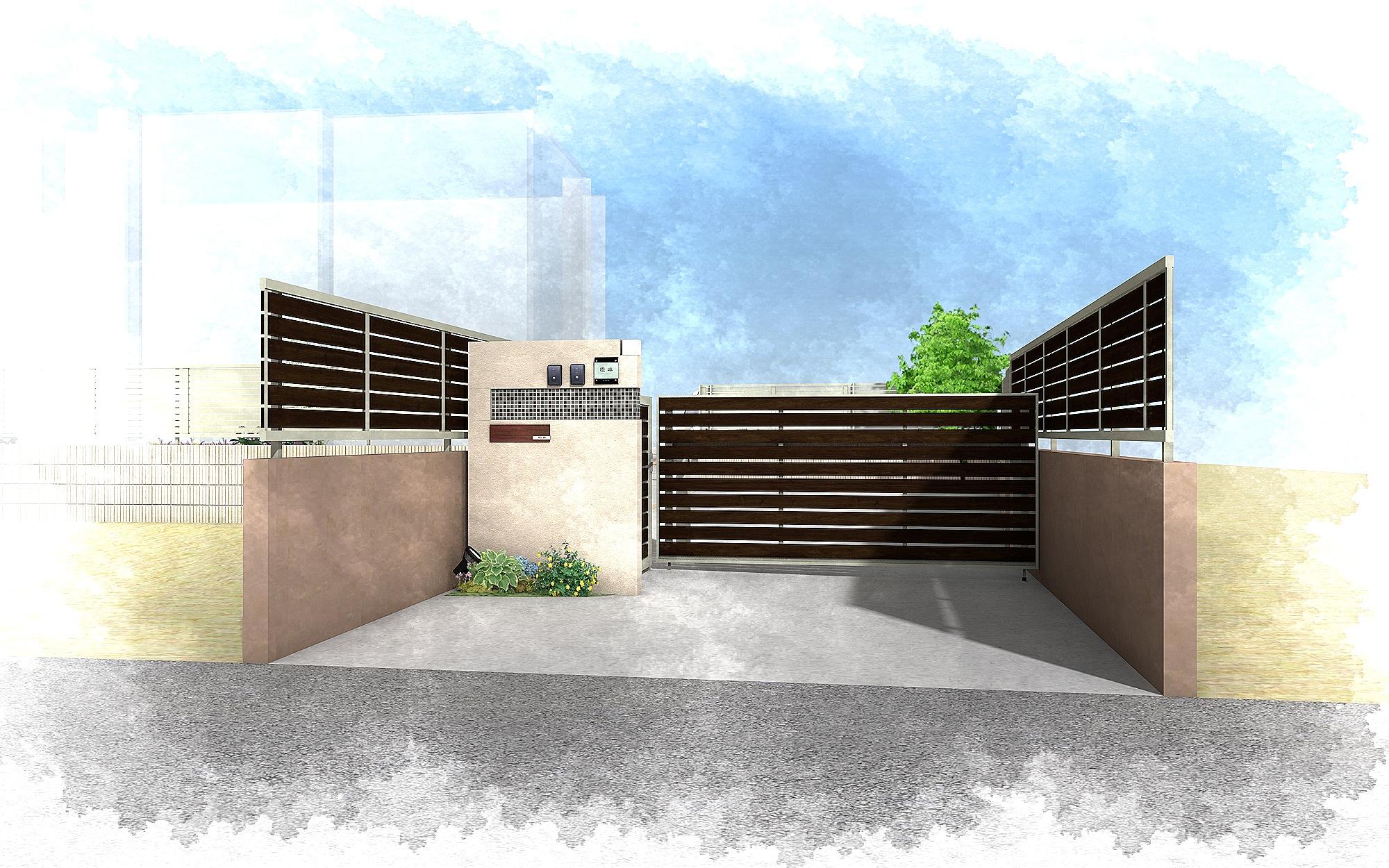 千葉市柏井町。木目フェンスのおしゃれなアプローチ。かわいいレンガのガーデン。3