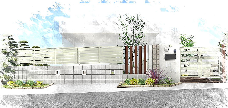 水平線を基調に石畳のアプローチとガラスブロックの素敵なハーモニー。千葉市。4