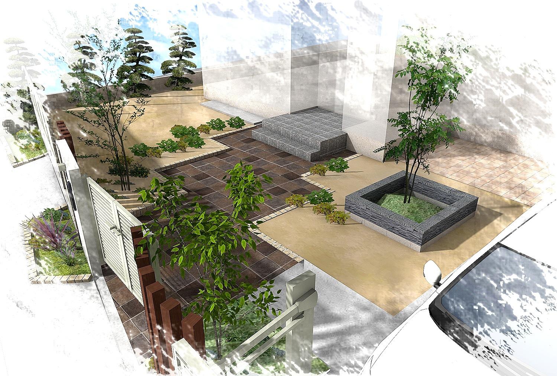 水平線を基調に石畳のアプローチとガラスブロックの素敵なハーモニー。千葉市。5