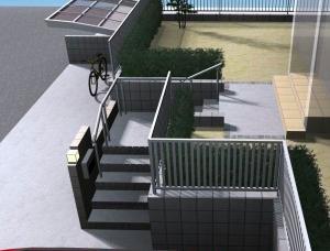 型枠ブロックを使った高低差のある外構<br>印西市4