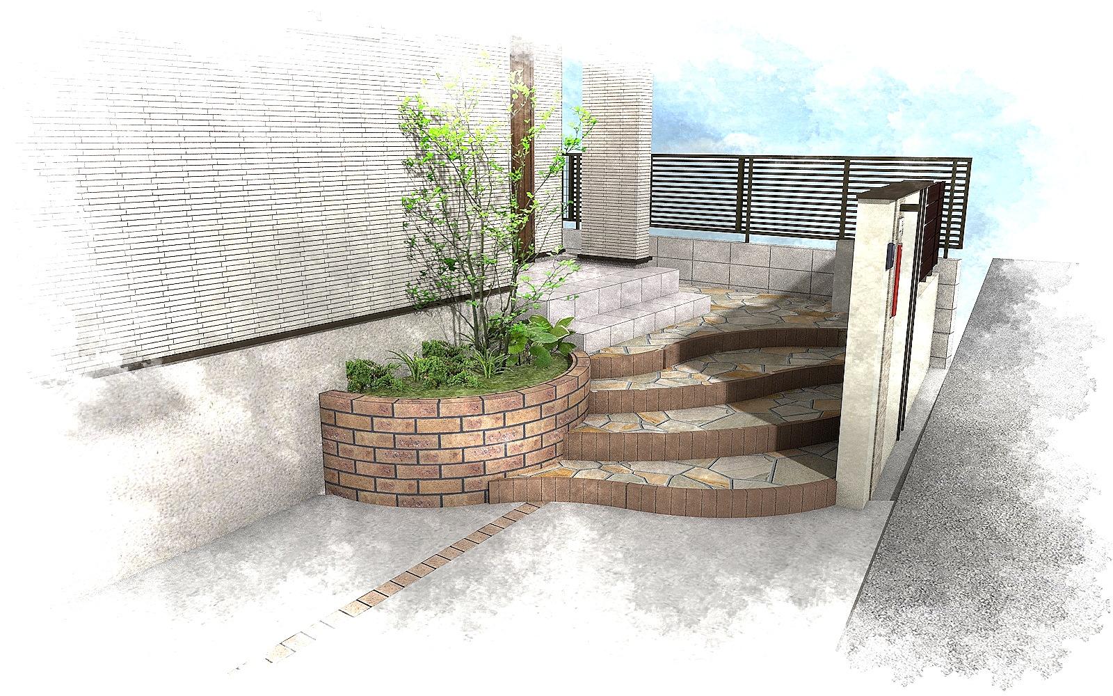 千葉県松戸市にて。レンガのカーブがお洒落な階段。ナチュラルカラーの素敵なポーチです。5