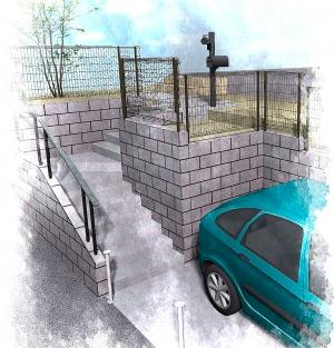 高低差のある外構は型枠ブロックで計画<br>稲毛区4