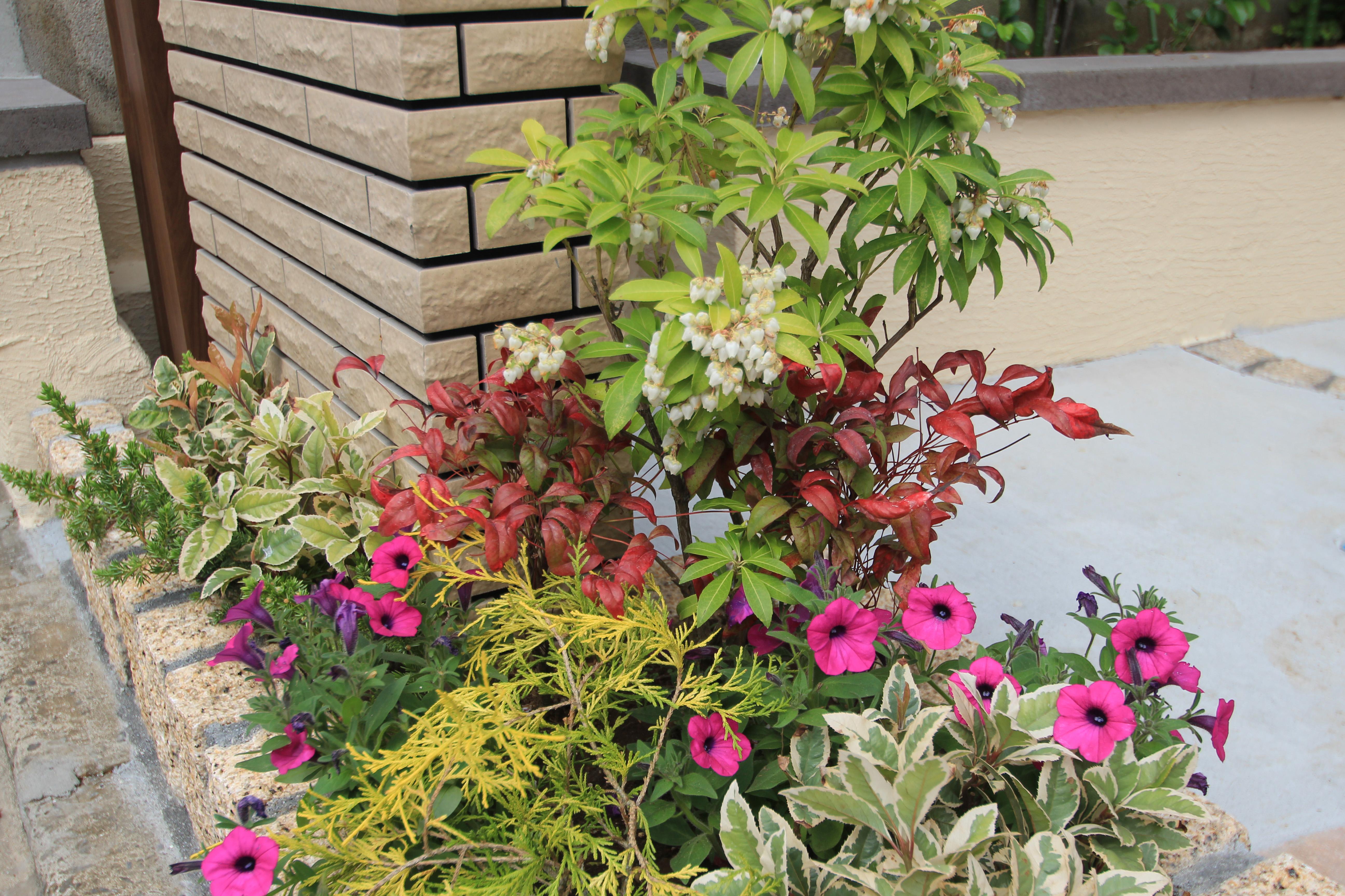 船橋市にて。<br>おしゃれな花壇と石貼りのアプローチ。12