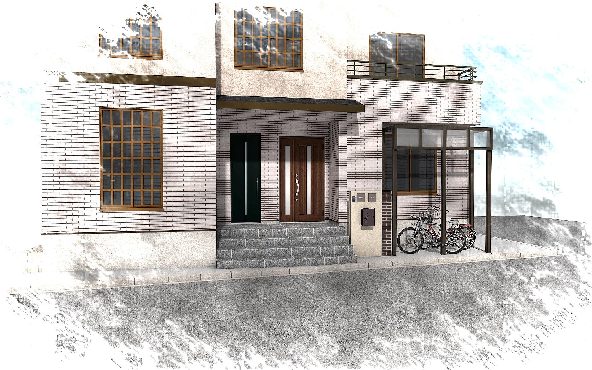 重厚な石貼りの玄関廻り 江戸川区T様邸3