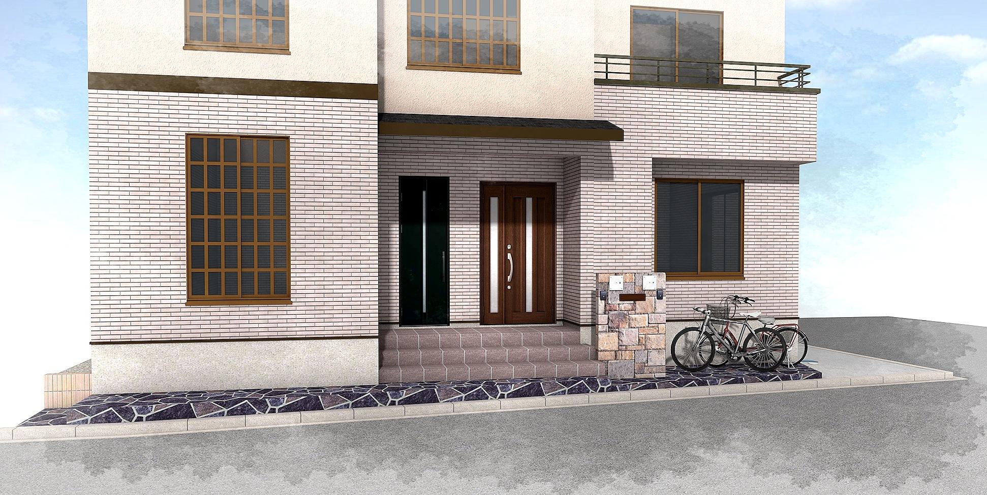 重厚な石貼りの玄関廻り 江戸川区T様邸6