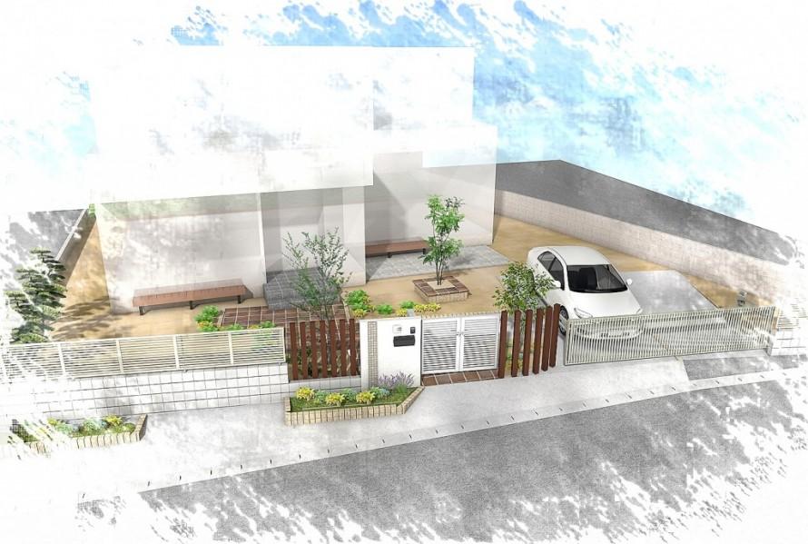 水平線を基調に石畳のアプローチとガラスブロックの素敵なハーモニー。千葉市。3