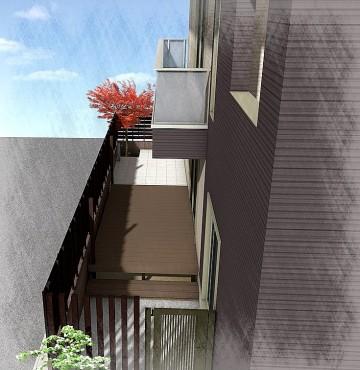 千葉市にて。ウッドデッキとタイルテラスのプライベートガーデンです。5