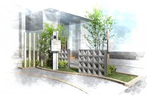 シンプルな機能門柱<br>船橋市分譲住宅6