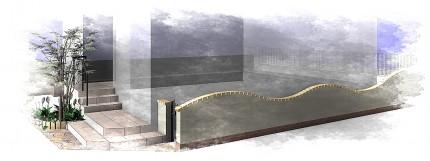 アンティークな機能門柱のある南欧風エクステリア<br>八千代市E様邸4