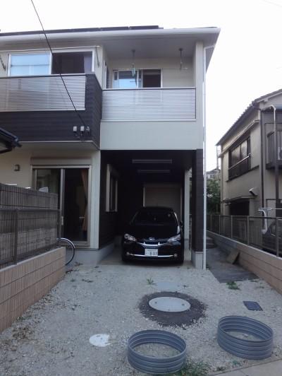 モダンな石畳のアプローチ<br>船橋市H様邸5
