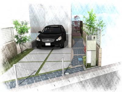 モダンな石畳のアプローチ<br>船橋市H様邸7