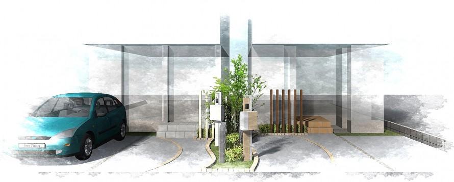 シンプルな機能門柱<br>船橋市分譲住宅3