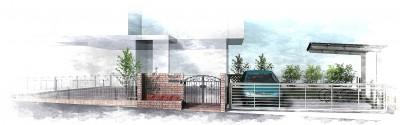 鋳物門扉とレンガでアンティークな外構<br>船橋市T様邸6