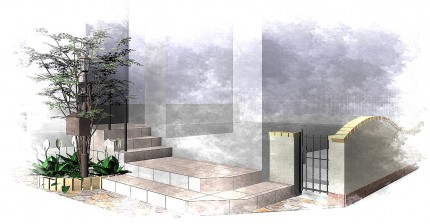 アンティークな機能門柱のある南欧風エクステリア<br>八千代市E様邸3