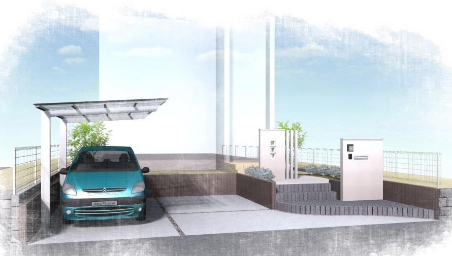 大きなカーポートがある家<br>松戸市H様邸3