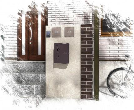 重厚な石貼りの玄関廻り 江戸川区T様邸5