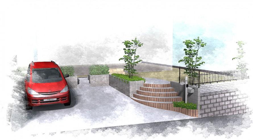 円形の階段が印象的な高低差のあるエクステリア<br>四街道市3