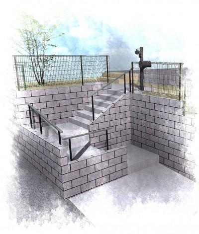 高低差のある外構は型枠ブロックで計画<br>稲毛区5