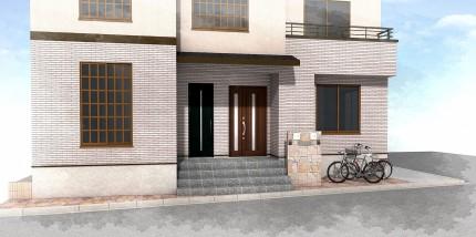 重厚な石貼りの玄関廻り 江戸川区T様邸4