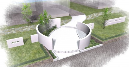 曲線の壁<br>住宅展示場のエクステリア3
