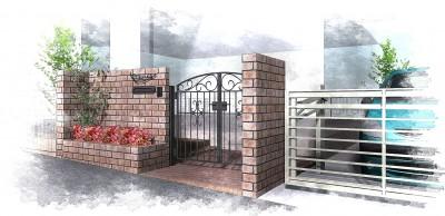 鋳物門扉とレンガでアンティークな外構<br>船橋市T様邸4