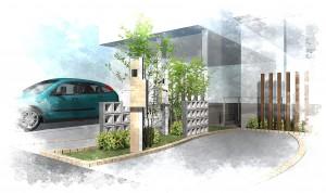 シンプルな機能門柱<br>船橋市分譲住宅4