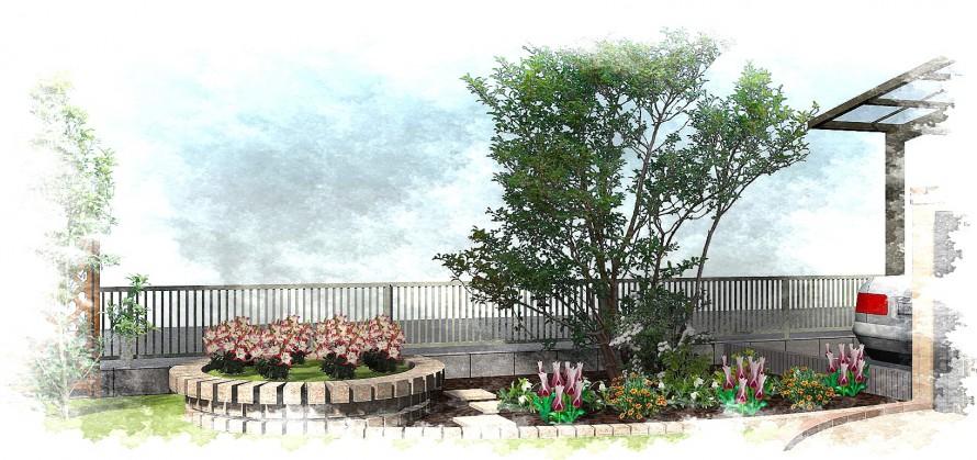 円形花壇でガーデンリフォーム<br>千葉市K様邸3