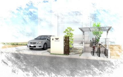 千葉市緑区。ナチュラルな石貼りとシンボルツリーの玄関廻り。3