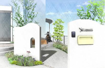 千葉市中央区。<br>素敵なカーブの門廻り。4
