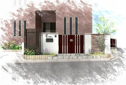 塗り壁と石貼りの高級観あるクローズ外構 <br>佐倉市U様邸3