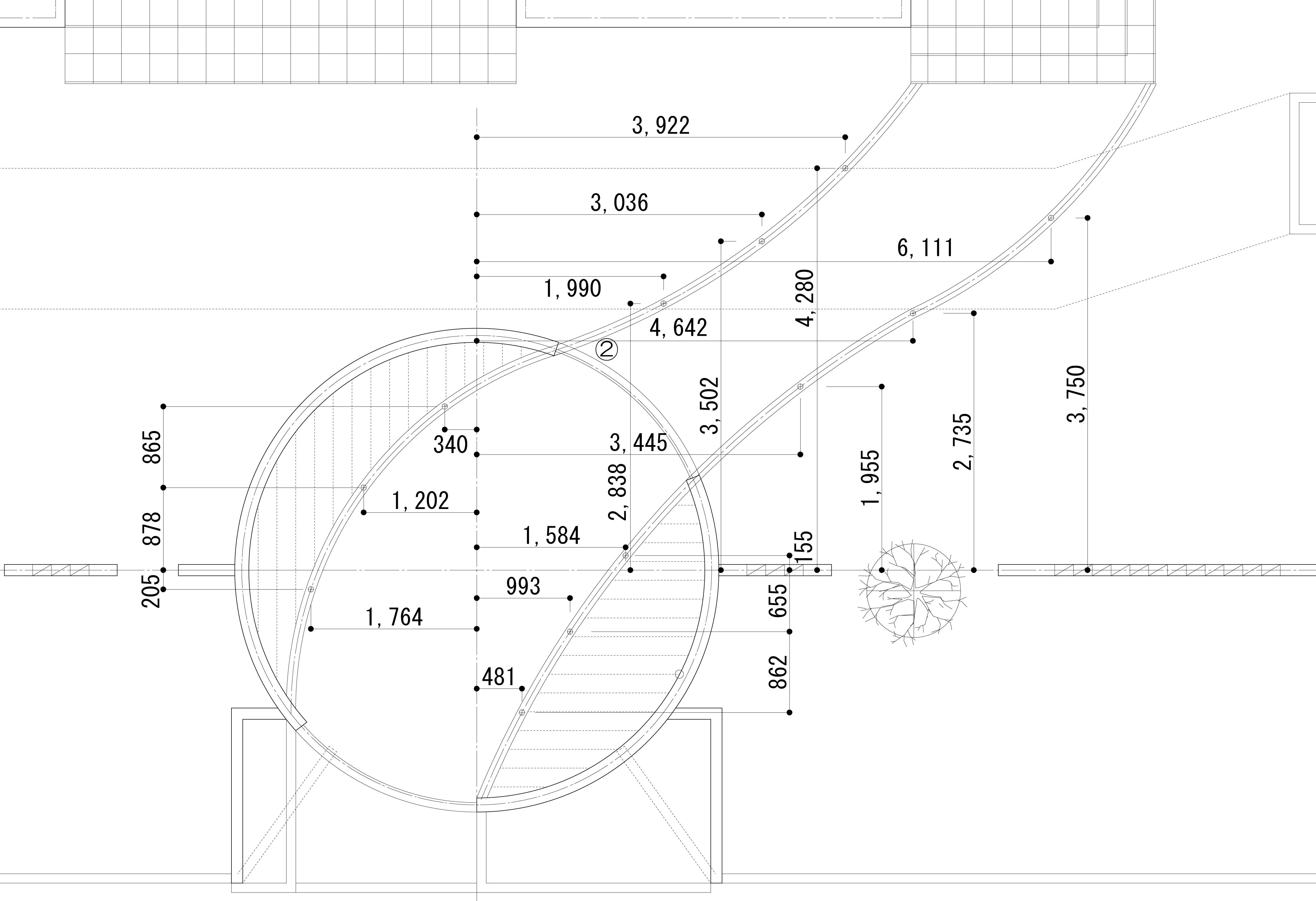 曲線の壁<br>住宅展示場のエクステリア5