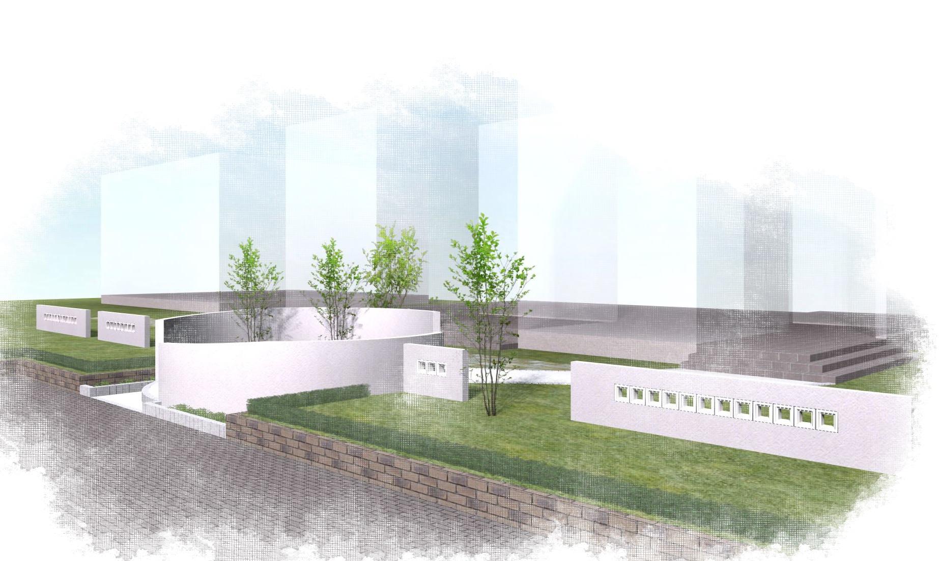 曲線の壁<br>住宅展示場のエクステリア4